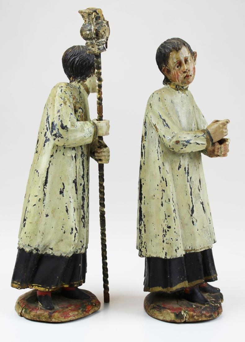 pr. of 17th/ 18th c acolyte choir boy figures - 3