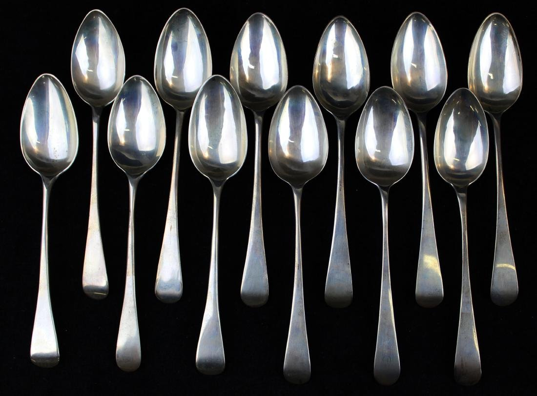 12 early 19th c. London sterling table spoons