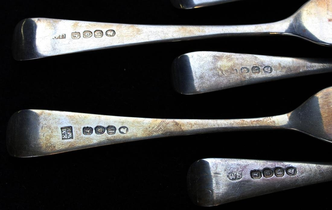 12 early 19th c. London sterling silver forks - 10