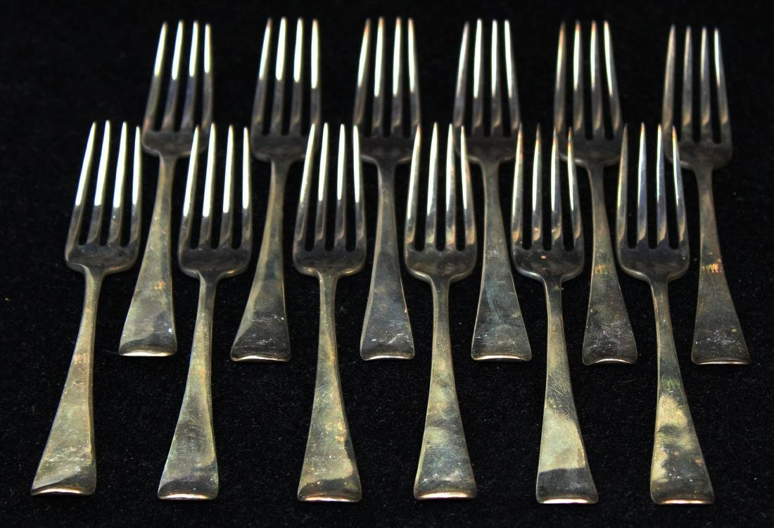 12 early 19th c. London sterling silver forks - 2