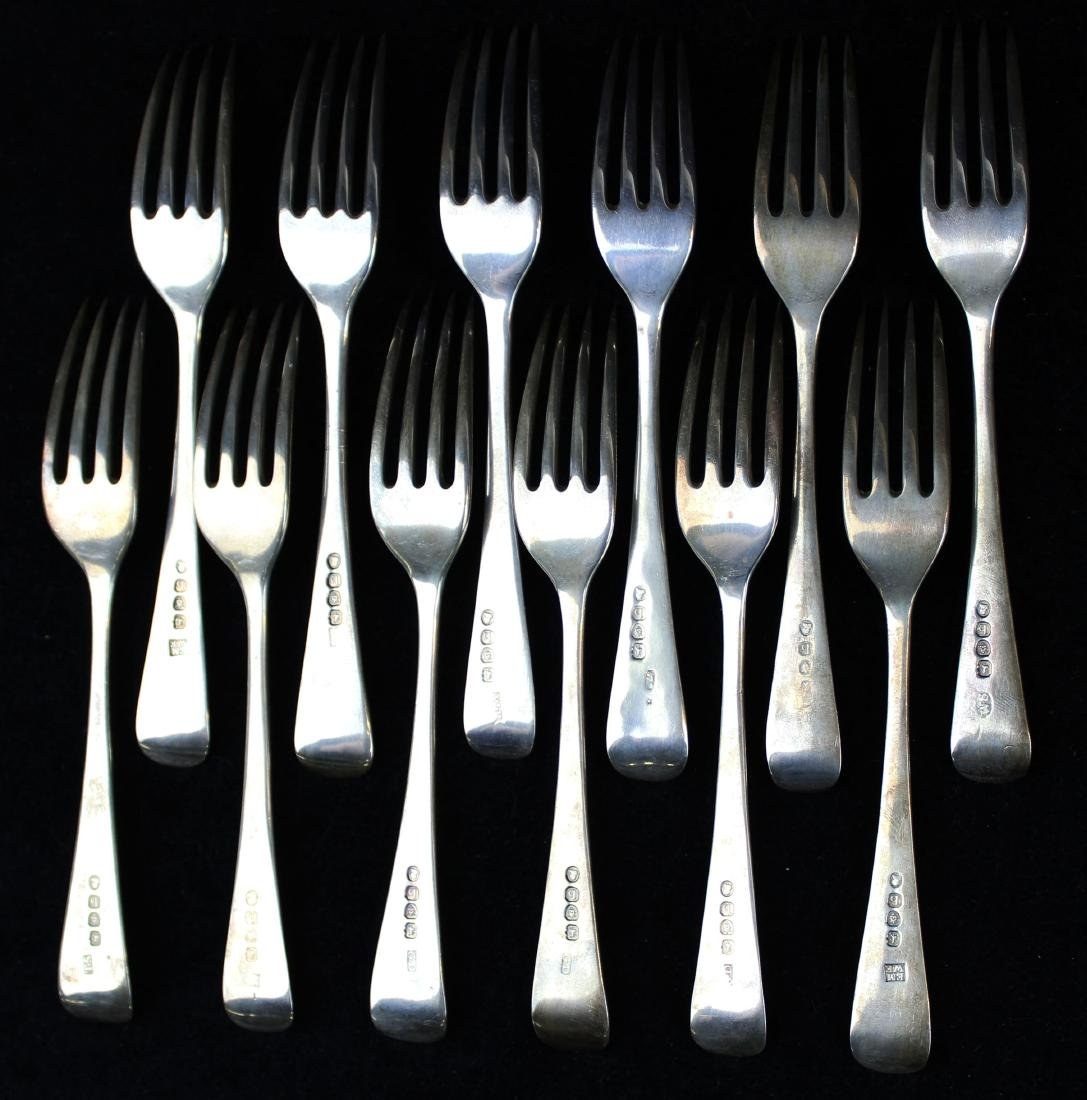 12 early 19th c. London sterling silver forks - 4