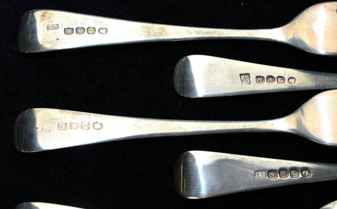 12 early 19th c. London sterling silver forks - 8