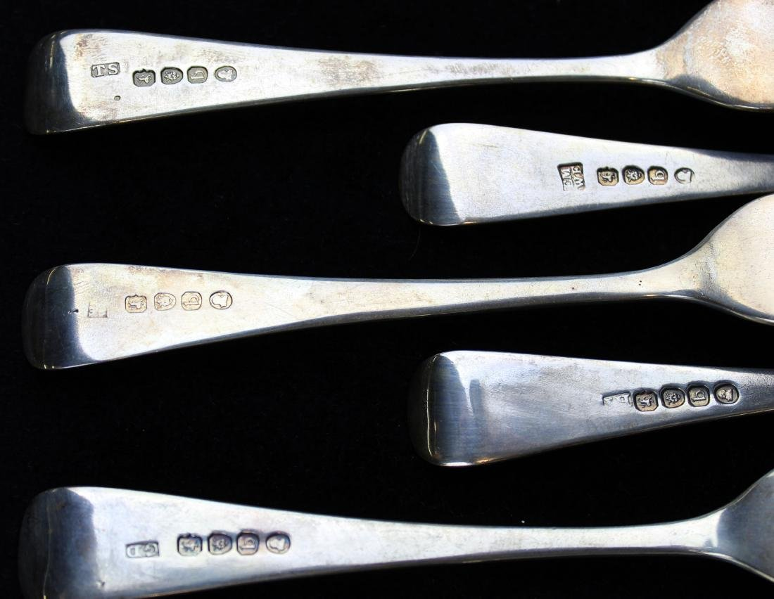 12 early 19th c. London sterling silver forks - 9