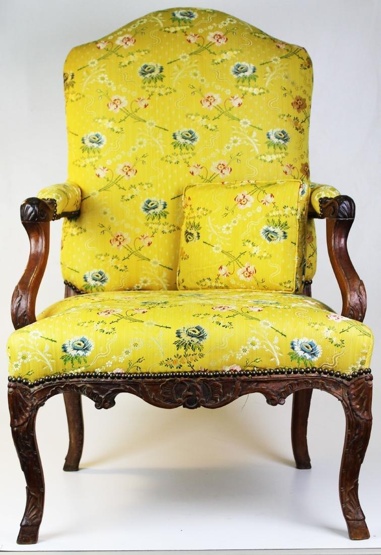18th c Louis XV walnut arm chair