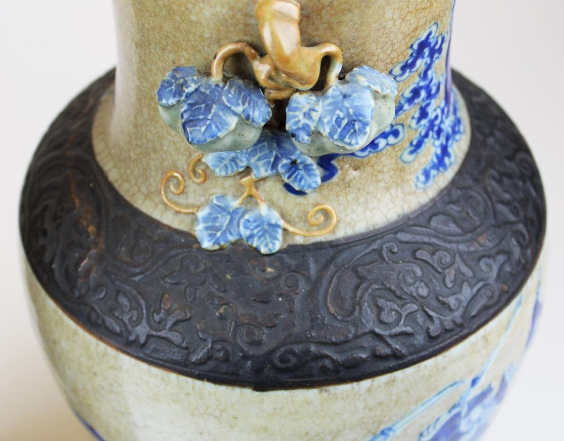 pr of early 20th c Chinese crackle glaze vases - 10
