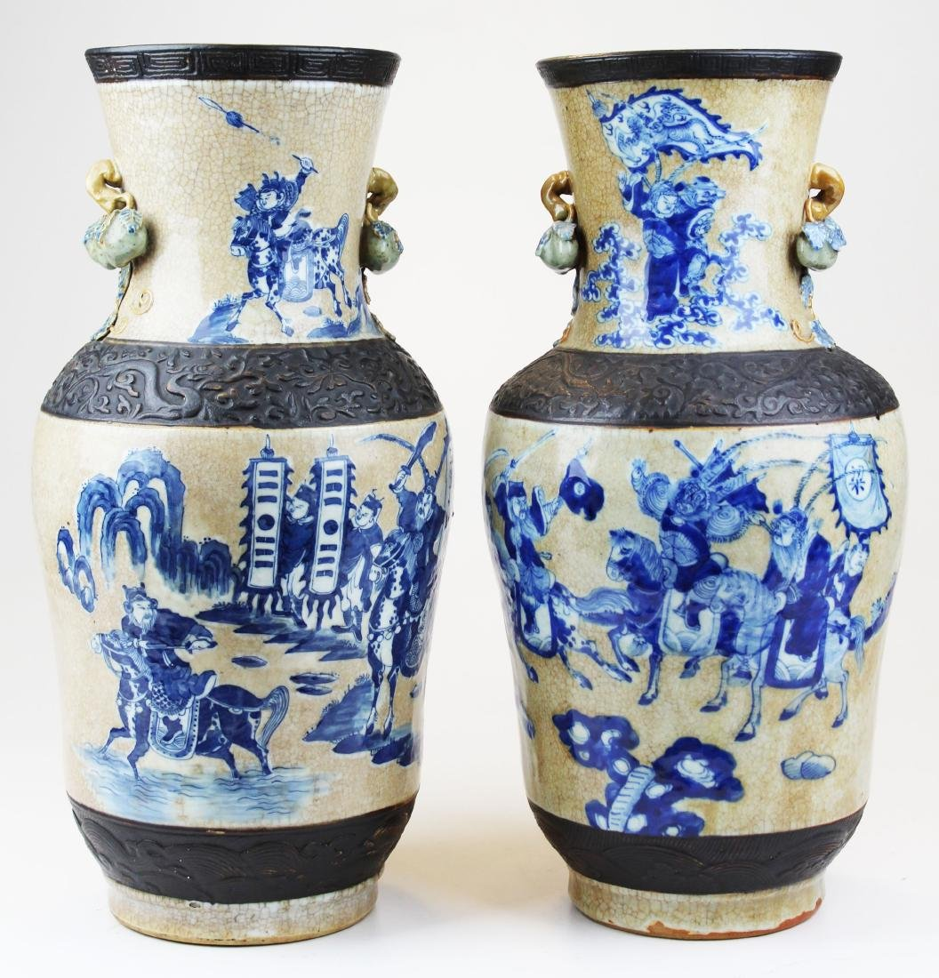 pr of early 20th c Chinese crackle glaze vases