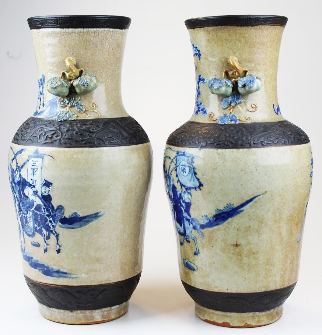 pr of early 20th c Chinese crackle glaze vases - 2