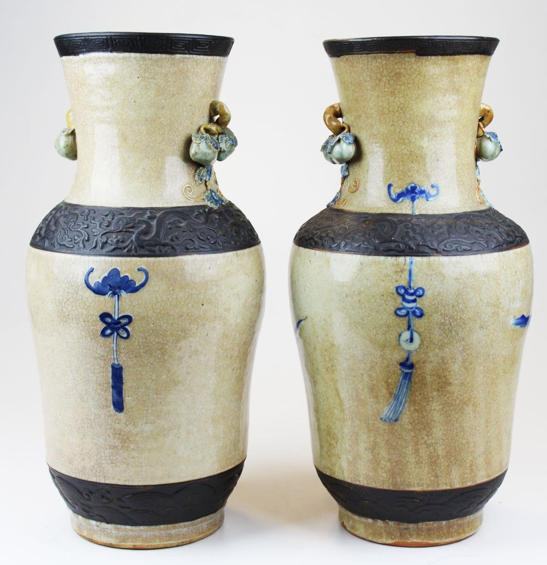 pr of early 20th c Chinese crackle glaze vases - 3