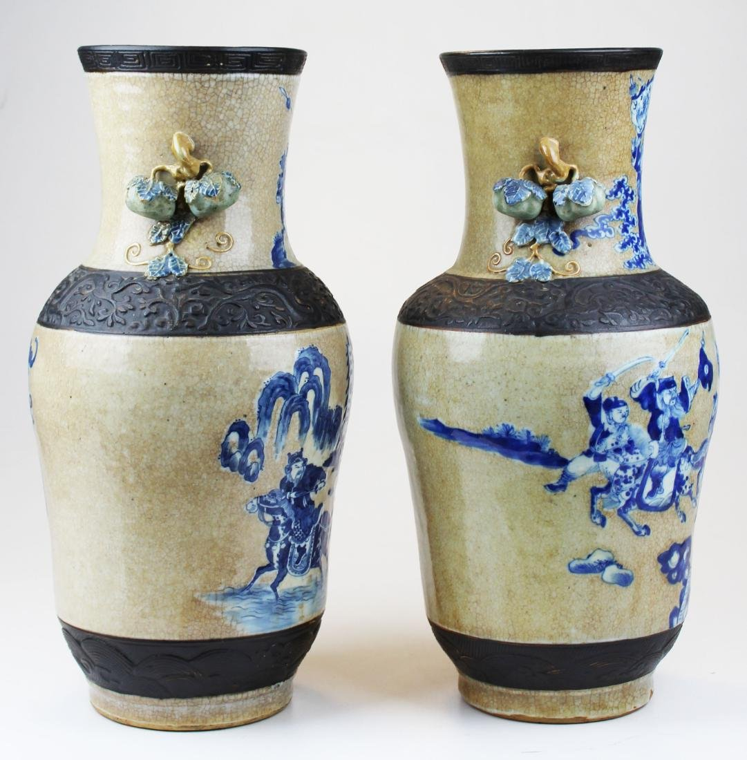 pr of early 20th c Chinese crackle glaze vases - 4