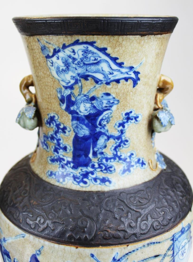 pr of early 20th c Chinese crackle glaze vases - 5
