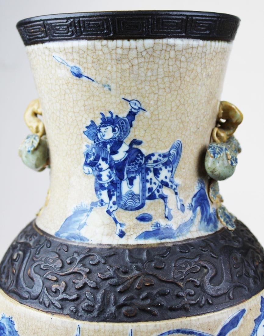 pr of early 20th c Chinese crackle glaze vases - 6