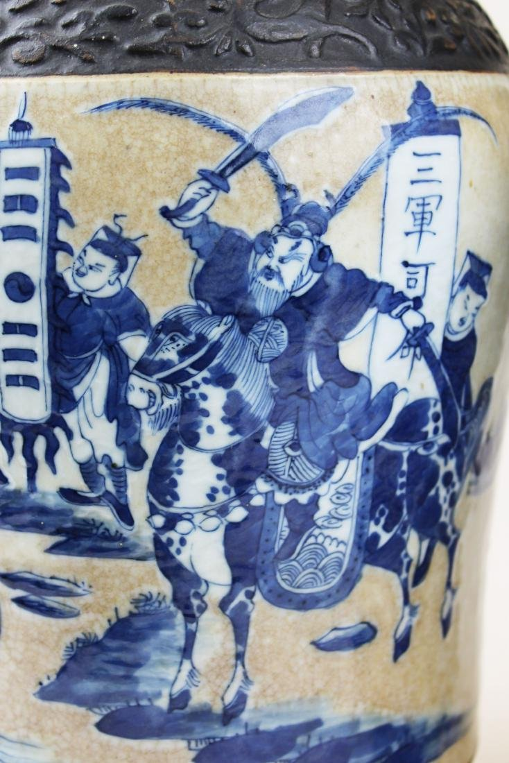 pr of early 20th c Chinese crackle glaze vases - 7