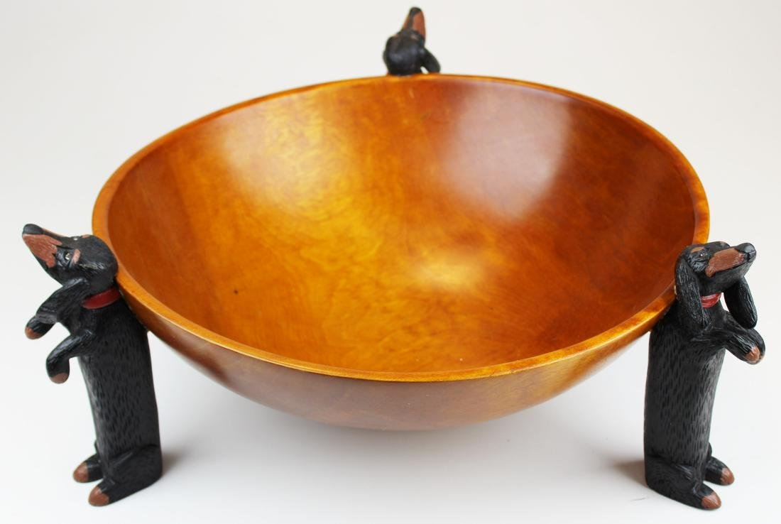 Stephen Huneck design wooden bowl - 5