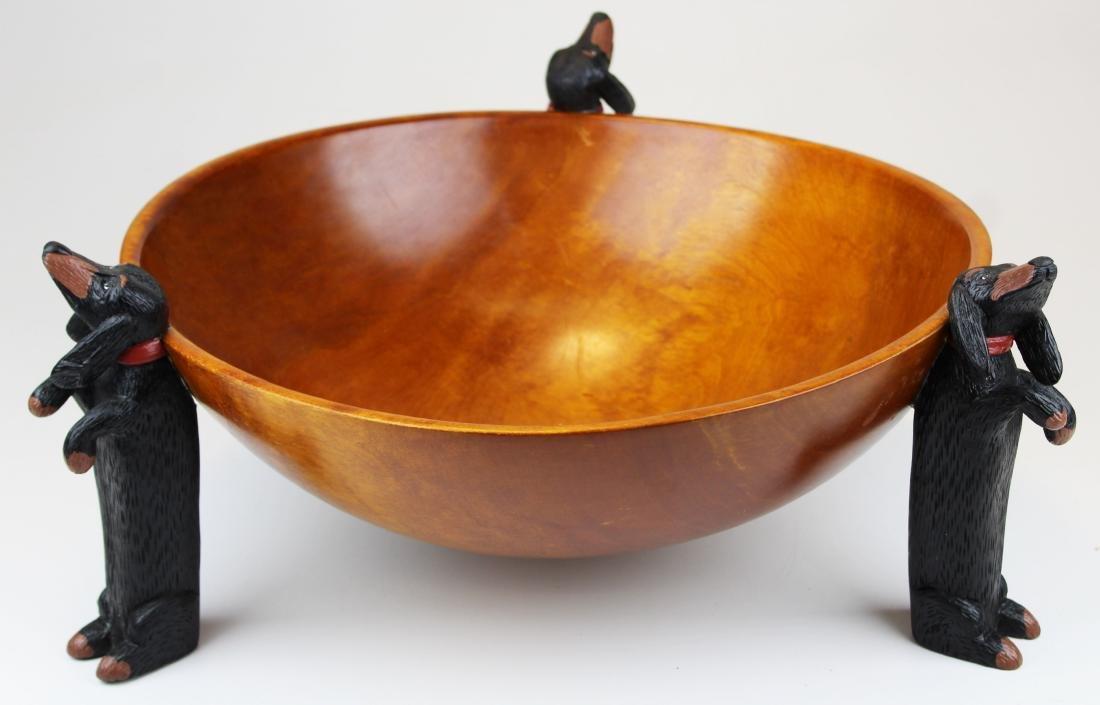 Stephen Huneck design wooden bowl - 8
