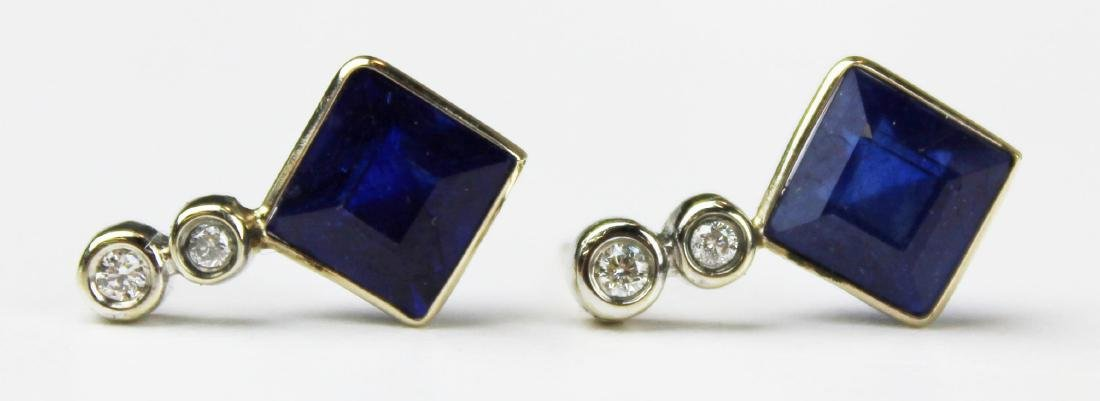Pair of 4 ct sapphire and diamond earrings