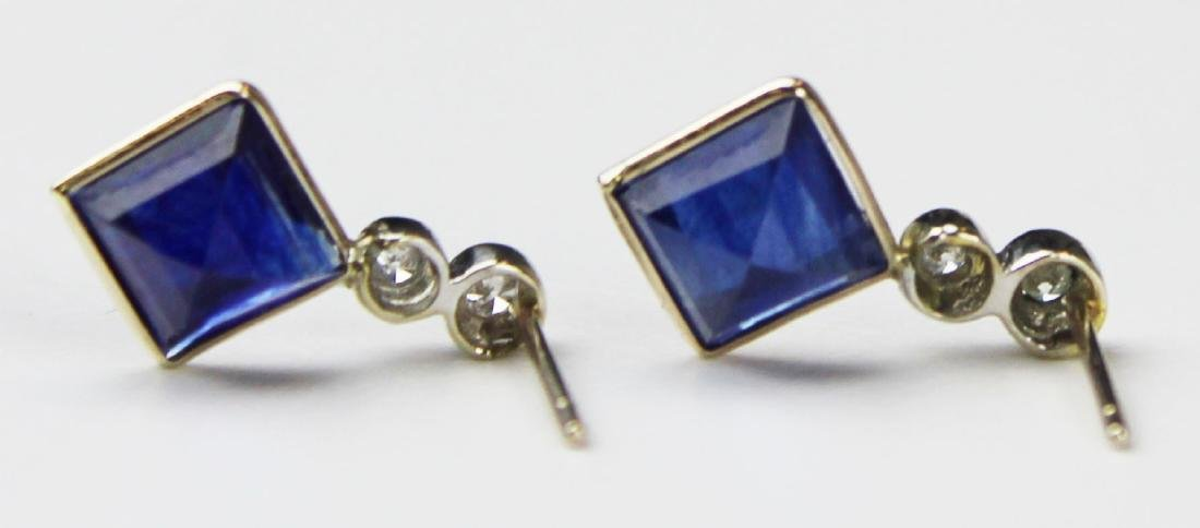 Pair of 4 ct sapphire and diamond earrings - 2