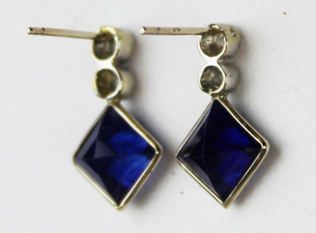 Pair of 4 ct sapphire and diamond earrings - 4