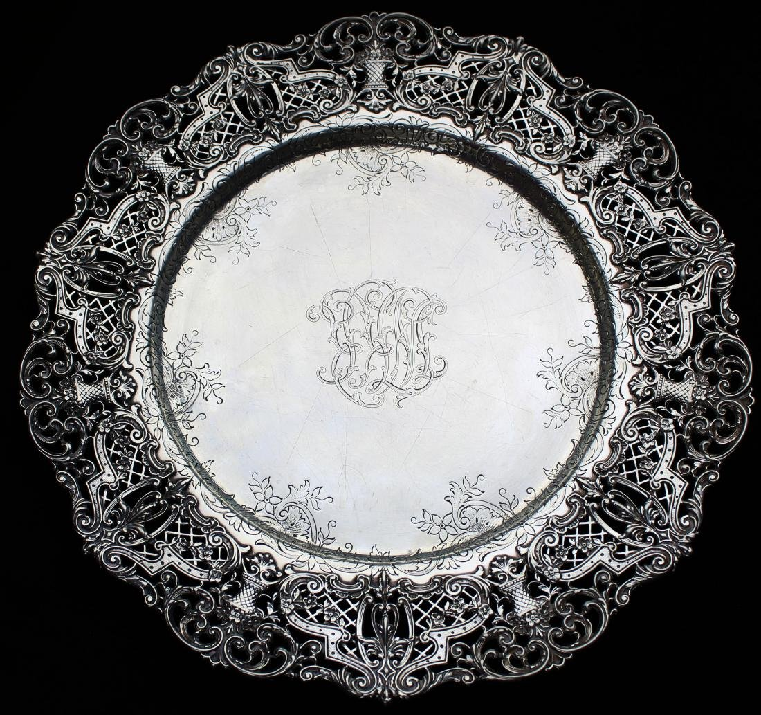 ornate Gorham sterling silver reticulated platter