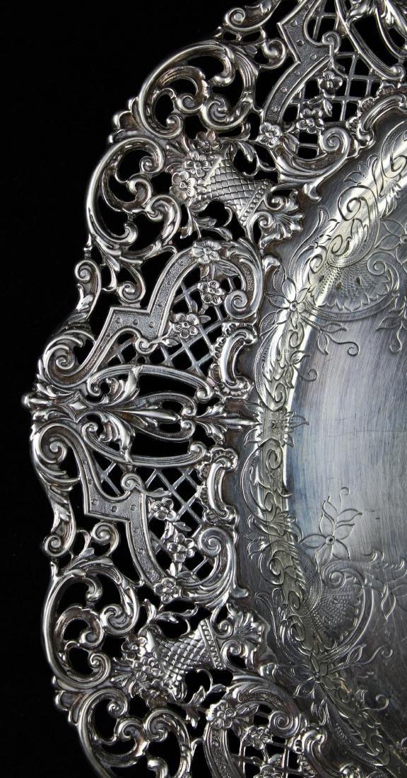 ornate Gorham sterling silver reticulated platter - 2