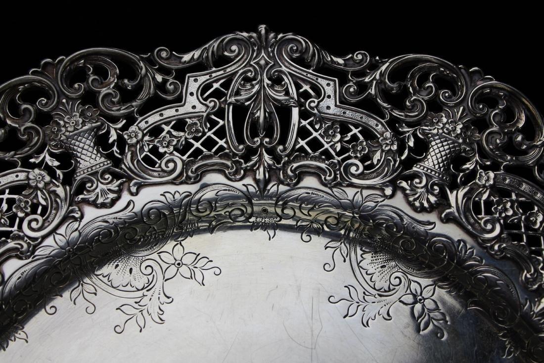 ornate Gorham sterling silver reticulated platter - 7