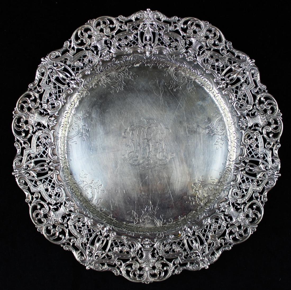 ornate Gorham sterling silver reticulated platter - 8