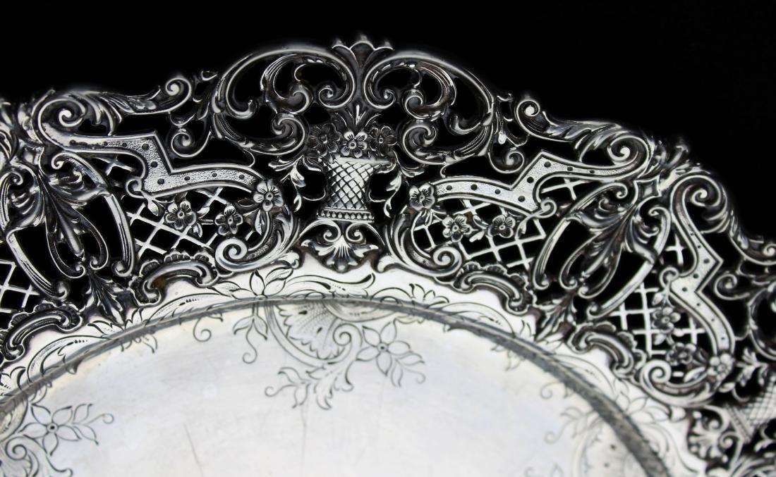 ornate Gorham sterling silver reticulated platter - 9