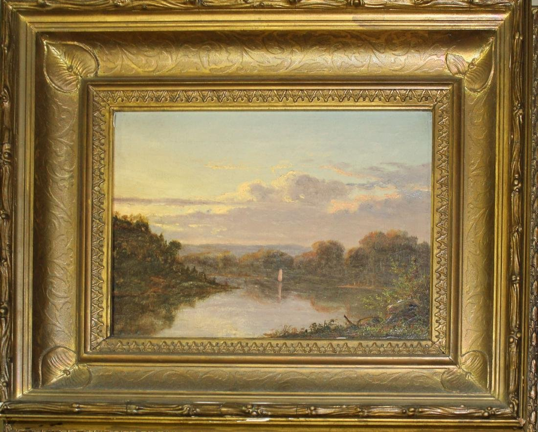 19th c Hudson River school oil on canvas