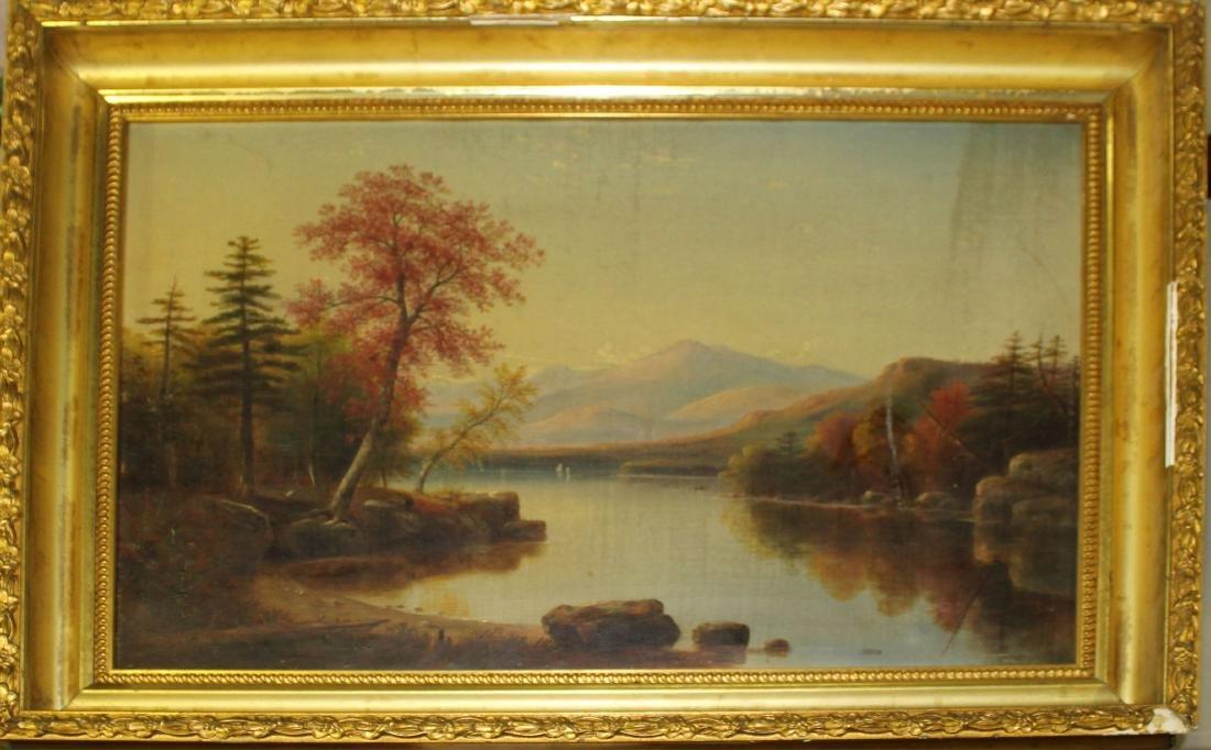 19th c Hudson River school oil on canvas
