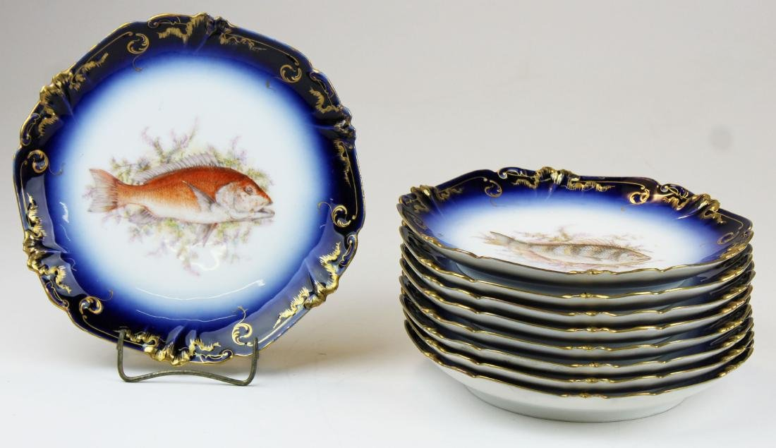 9 Lewis Straus & Sons Limoges cobalt fish plates