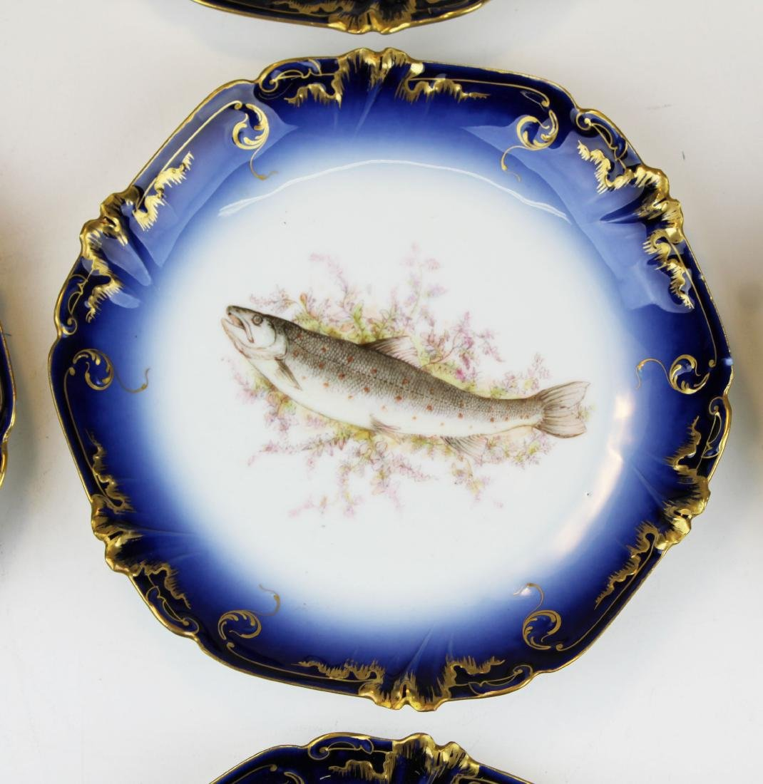 9 Lewis Straus & Sons Limoges cobalt fish plates - 3
