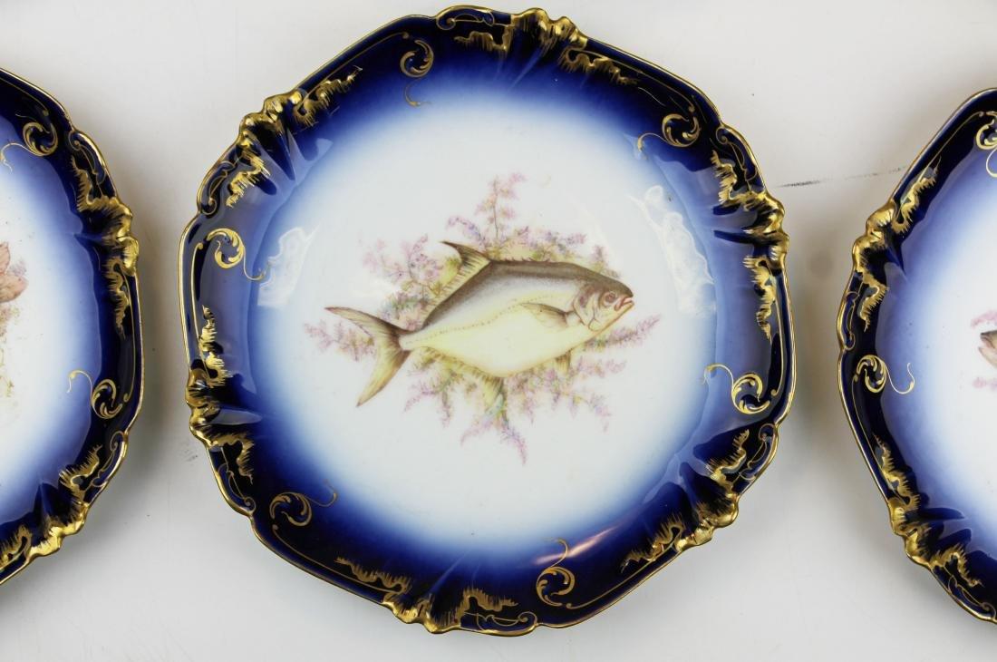 9 Lewis Straus & Sons Limoges cobalt fish plates - 4