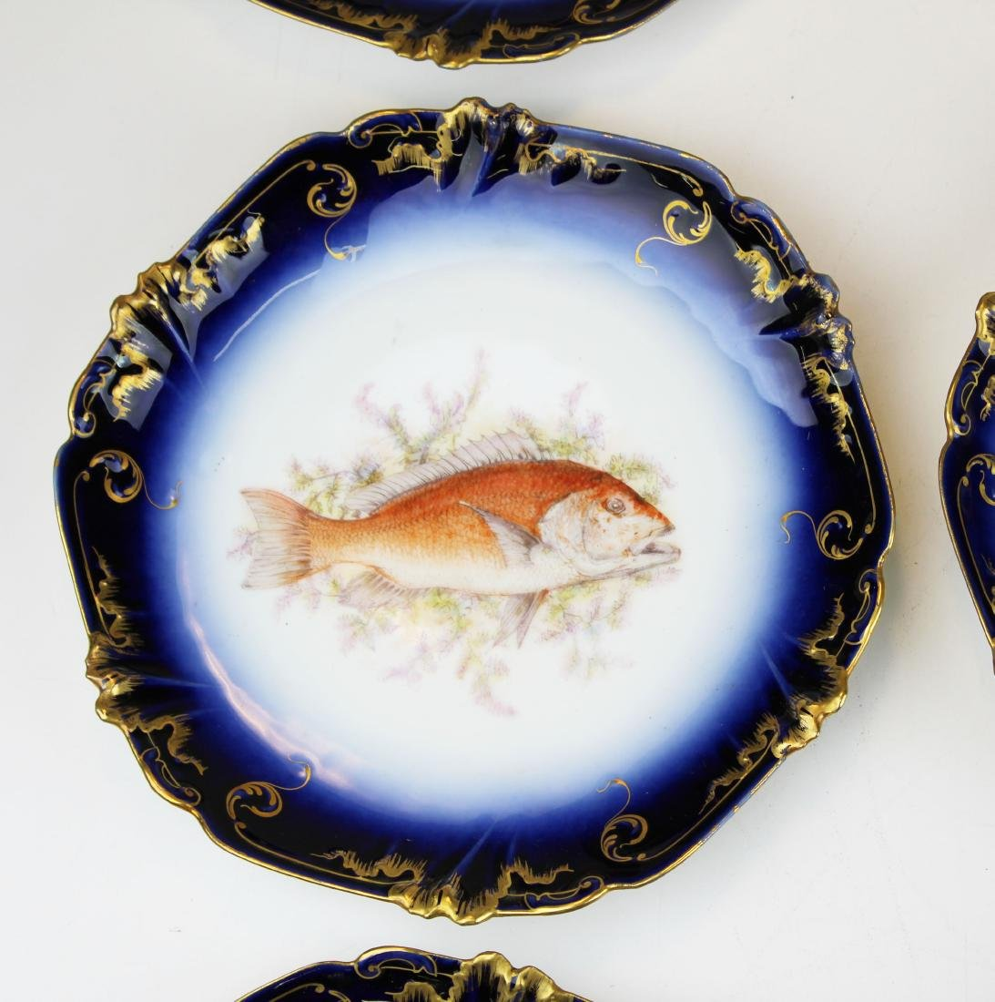 9 Lewis Straus & Sons Limoges cobalt fish plates - 5