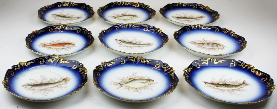 9 Lewis Straus & Sons Limoges cobalt fish plates - 8