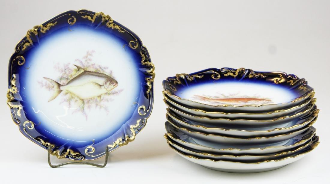9 Lewis Straus & Sons Limoges cobalt fish plates - 9