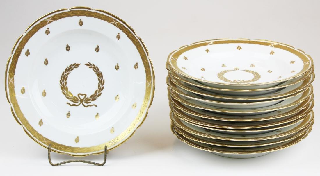 12 gilt Saxe Austrian porcelain soup plates