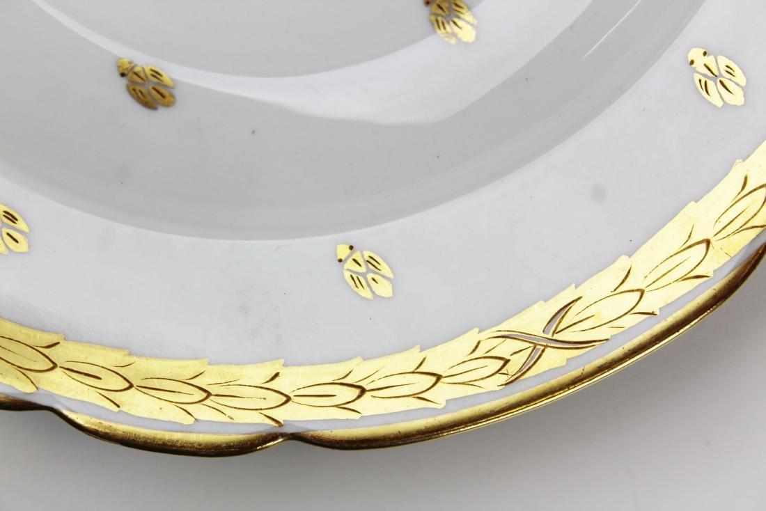12 gilt Saxe Austrian porcelain soup plates - 2