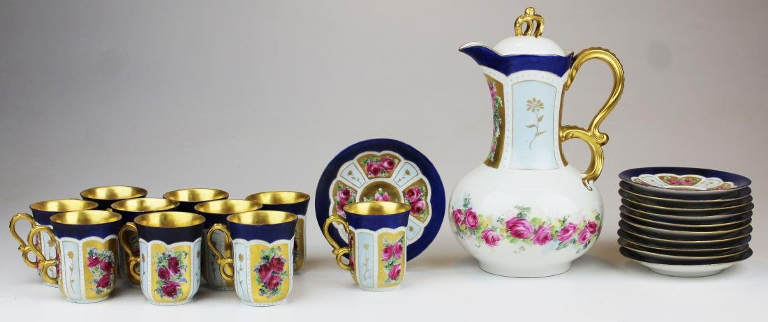 Jean Pouyat Limoges porcelain chocolate set