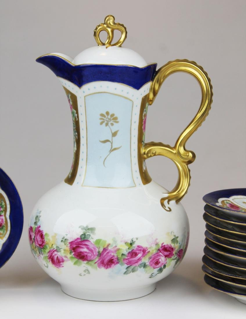 Jean Pouyat Limoges porcelain chocolate set - 3