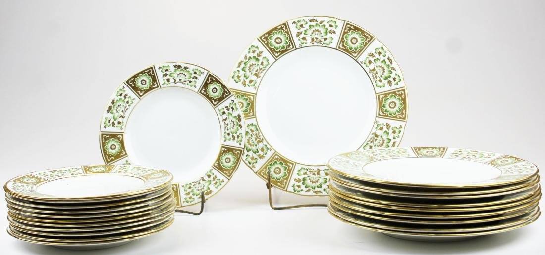 """22 Royal Crown Derby """"Green Derby Panel"""" plates"""