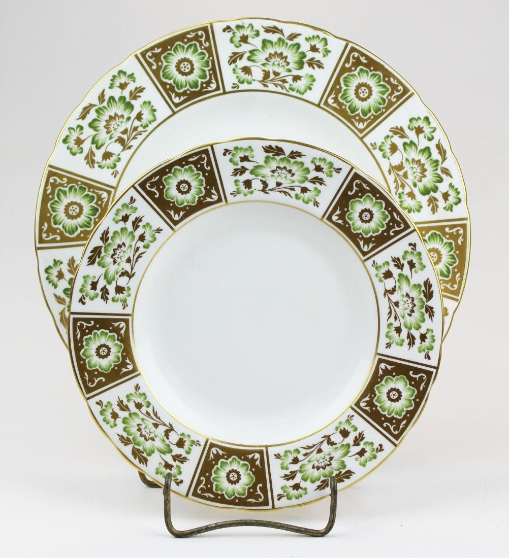 """22 Royal Crown Derby """"Green Derby Panel"""" plates - 2"""