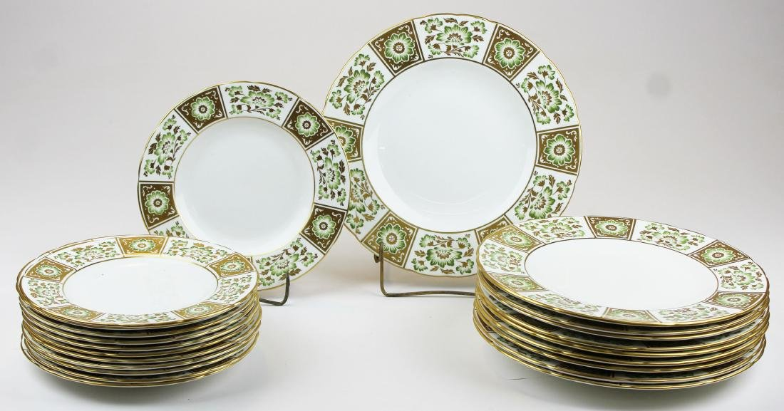 """22 Royal Crown Derby """"Green Derby Panel"""" plates - 5"""