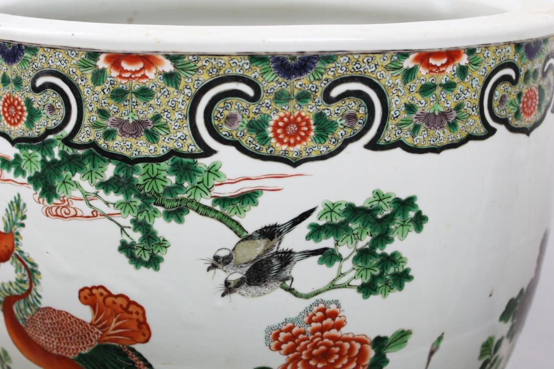 late 20th c Chinese Famille verte fish bowl - 10
