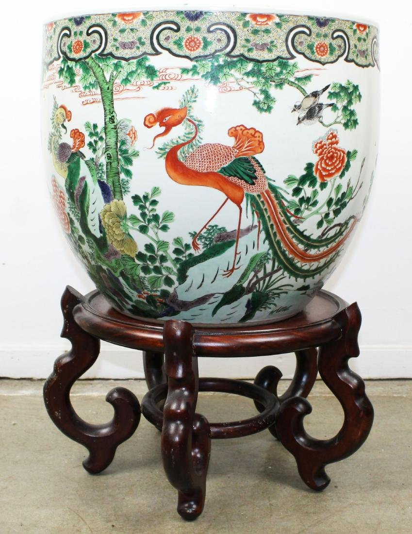 late 20th c Chinese Famille verte fish bowl
