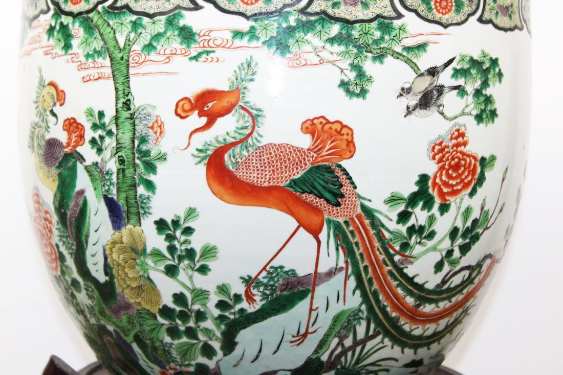 late 20th c Chinese Famille verte fish bowl - 2