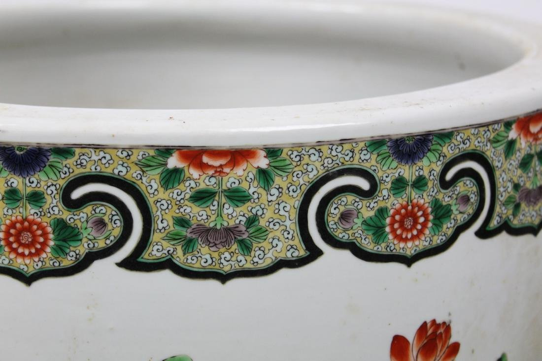 late 20th c Chinese Famille verte fish bowl - 5