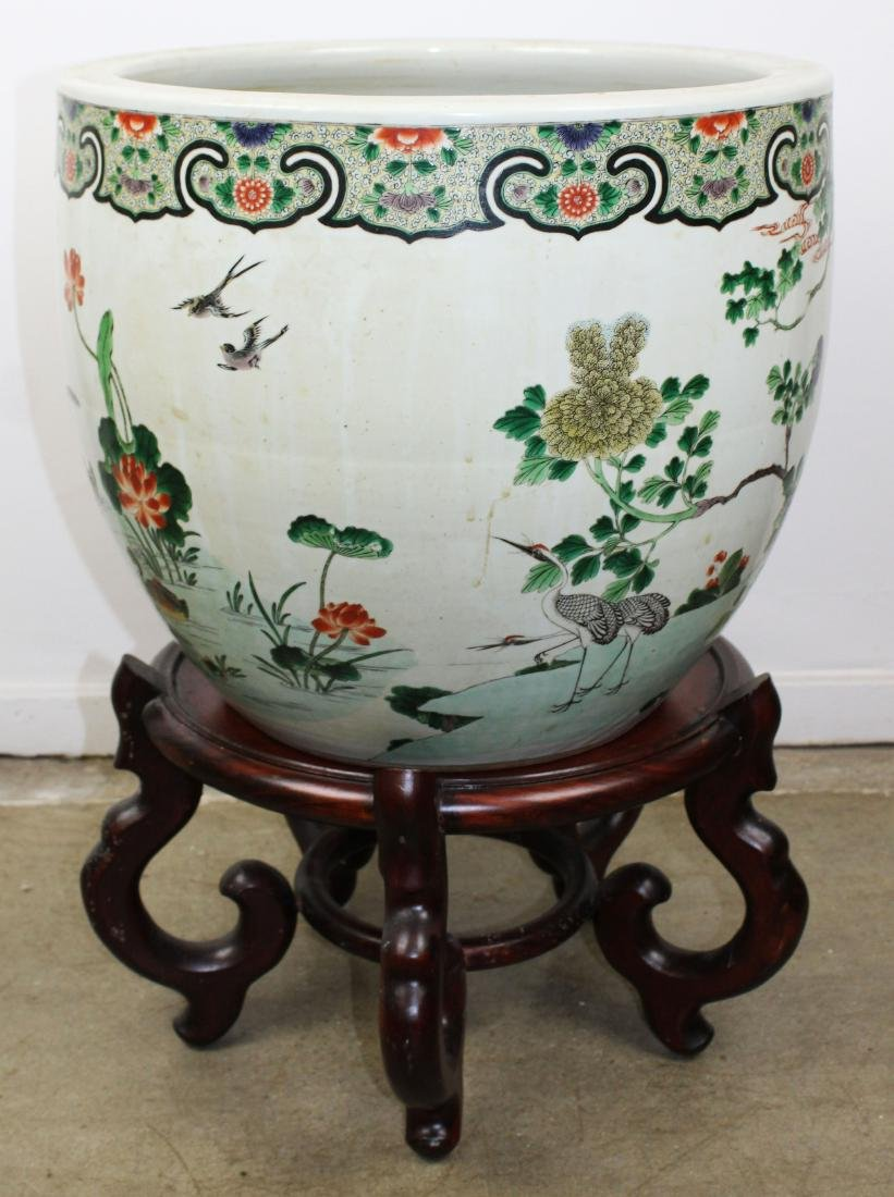 late 20th c Chinese Famille verte fish bowl - 6