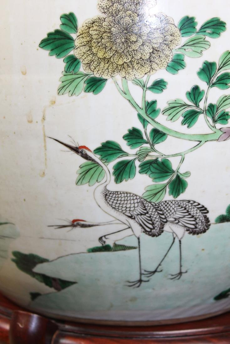 late 20th c Chinese Famille verte fish bowl - 7