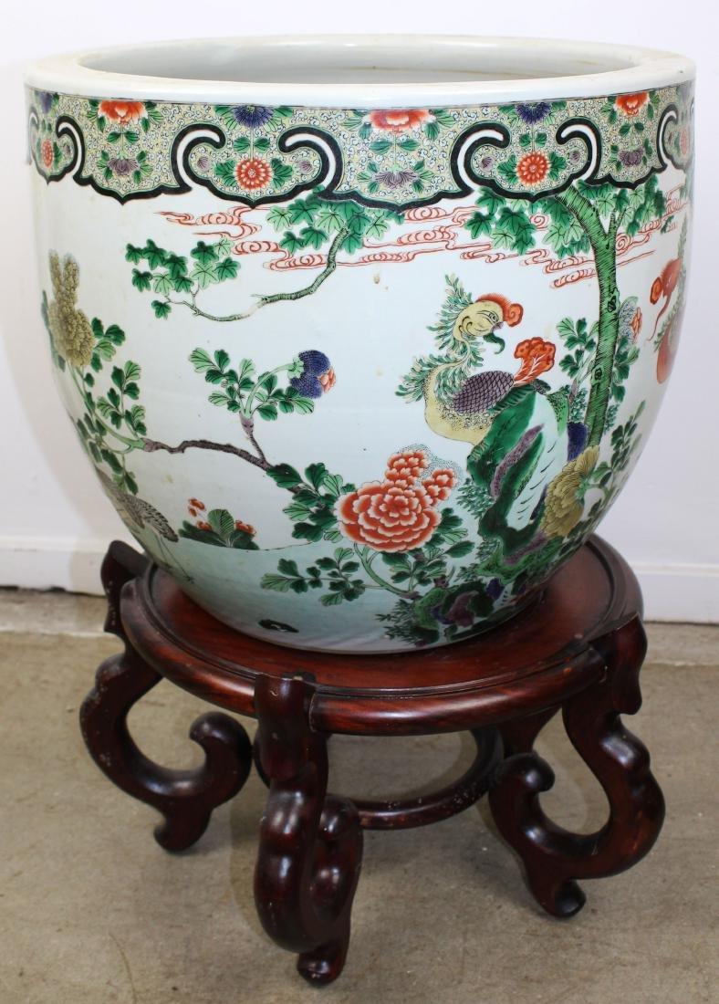 late 20th c Chinese Famille verte fish bowl - 8