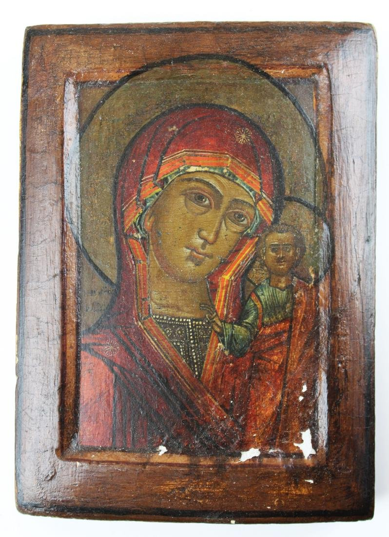 17th/ 18th  Russian icon on wood panel