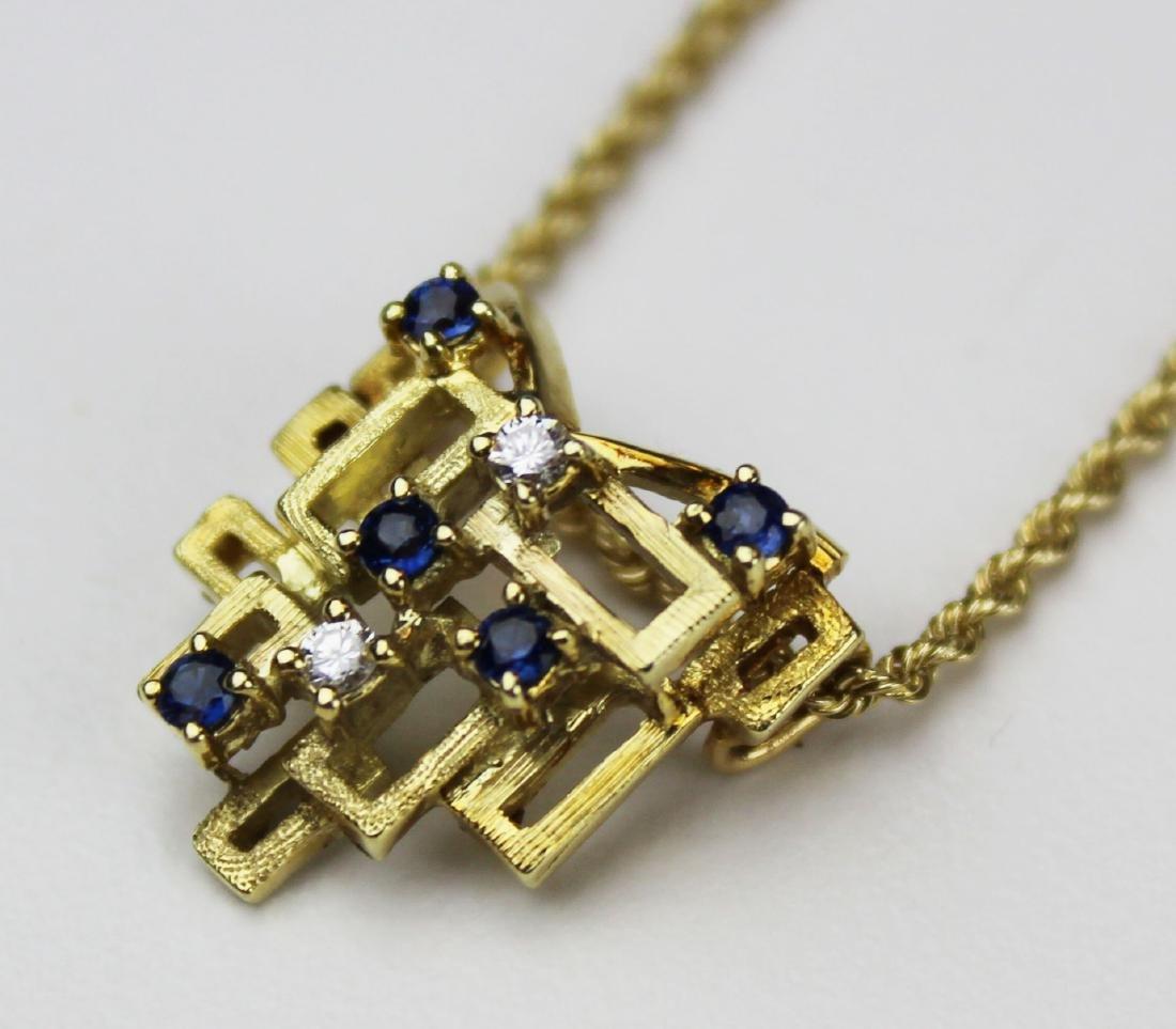 14k yellow gold, diamond, & sapphire pendant